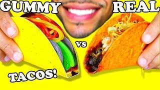 ASMR GUMMY FOOD VS REAL FOOD TACOS CANDY CHALLENGE MUKBANG EATING SOUNDS