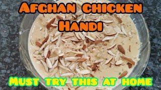 Afghan chicken handi | white curry recipe | almond dish | famous Afghani dish | english subtitles