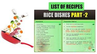 Rice Dishes Part - 2 | List of Recipes | Indian Recipes List in English | Types of Recipes