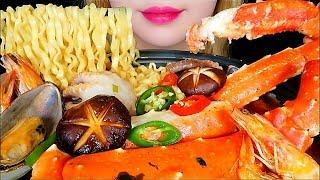 ASMR SEAFOOD RAMEN (KING CRAB LEGS, BABY OCTOPUS, MUSSEL, SHRIMP) Mukbang *slurping* Eating sounds