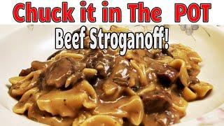 Instant Pot Beef Stroganoff made with steak and cream of mushroom soup