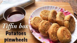 Potatoes stuffed pinwheel|| quick and easy kids tiffin box recipe || easy snack for guests