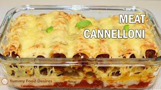 Cannelloni with minced meat | Italian meat dish with béchamel sauce and cheese | Meat cannelloni