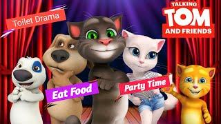My Talking Tom With Friends | Toilet Drama | Eat Food | Party Time | Epic Gameplay. (Part 1)
