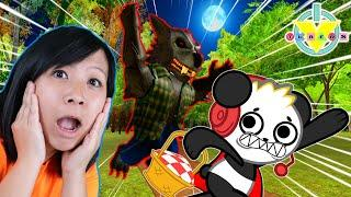 RYAN'S MOMMY ESCAPES THE BIG BAD WOLF IN ROBLOX! Let's Play Roblox Riding Hood with Combo Panda