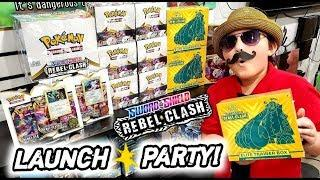 CARL FINALLY GOES TO THE BEST POKEMON LAUNCH PARTY! NEW POKEMON CARDS REBEL CLASH ELITE TRAINER BOX!