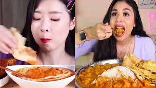 GORGEOUS MUKBANGERS CONSUMING INDIAN VARIANT FOOD/SATISFYING SOUNDS