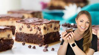 Two Desserts in One: Edible Cookie Dough on a Fudgy Brownie with a Chocolate Ganache Topping