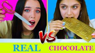 REAL FOOD VS CHOCOLATE FOOD CHALLENGE NEW EATING SOUNDS