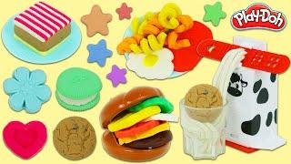 Making Huge Play Doh Meals & Desserts with Play Dough Hamburger Fries Milk and Cookies Double Set!