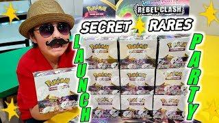 WE PULLED 2 SECRET RARES IN 1 BOOSTER BOX! REBEL CLASH! BEST NEW POKEMON CARDS LAUNCH PARTY!