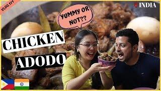 CHICKEN ADOBO (FILIPINO DISH) FOR LUNCH WILL HE LIKE IT? II Filipino Indian Family Vlog # 171