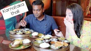 SOUTH INDIAN FOOD FOREIGNER REACTION: KARNATAKA THALI | TRAVEL VLOG IV