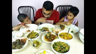 Eating Prawn Fry, Fish Head, Big Fish, Small fish, Vegetable | Father daughters eating show