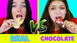 REAL FOOD VS CHOCOLATE FOOD ASMR CHALLENGE