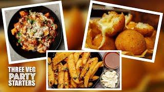 3 quick and easy party snacks| veg party starters| kids snacks recipes| veg snacks ideas for party