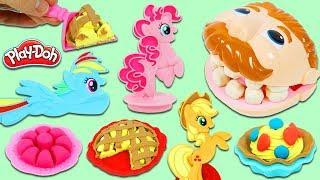 Feeding Mr. Play Doh Head Using MLP My Little Pony Play Dough Cakes and Desserts!