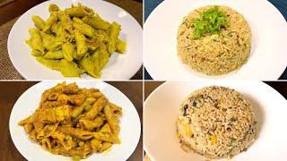 4 Easy Dinner recipes | Hummus Pasta | Paneer Pasta | Garlic Egg Fried Rice | Mushroom Fried Rice
